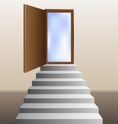 Stairs leading to an open door vector