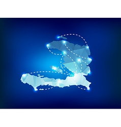 Haiti country map polygonal with spot lights place vector