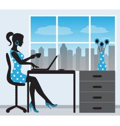 Silhouette of a woman with a laptop vector