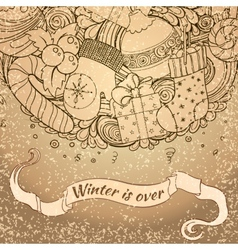 Winter icons vintage circle composition vector