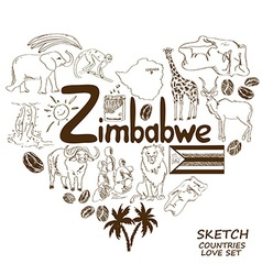 Zimbabwe symbols in heart shape concept vector