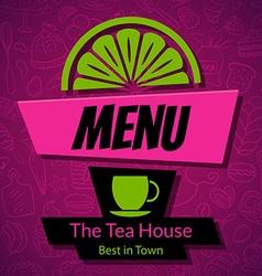 Modern tea house menu card design template vector