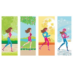 Woman jogging four seasons vector