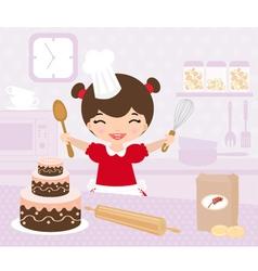 Cute little girl baking vector