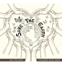 Hands save the earth drawing conceptual vector