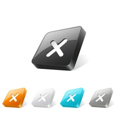 3d web button with cross mark icon vector