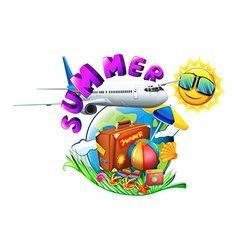 A summer artwork showing a vacation trip vector