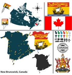 Map of new brunswick vector