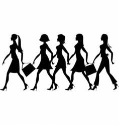 Silhouette of 5 ladies vector