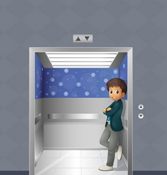 A boy inside the elevator vector