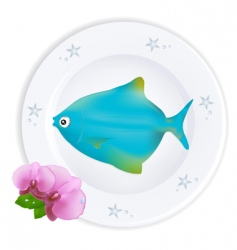 Fish on plate vector