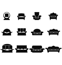 Black sofa icons set vector