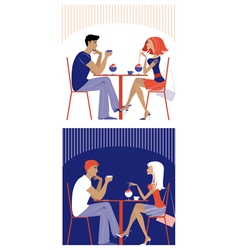 Couple at cafe vector