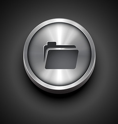 Folder metallic icon vector
