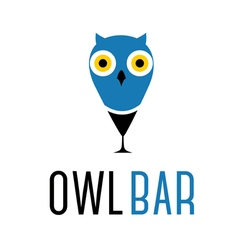 Concept of abstract owl with wine glass vector