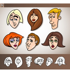 Cartoon people heads set vector