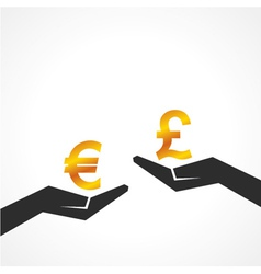 Hand hold euro and pound symbol to compare vector