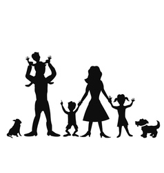 Happy family silhouettes vector