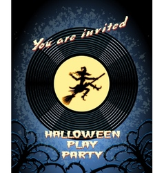 Halloween play party invitation with witch graphic vector