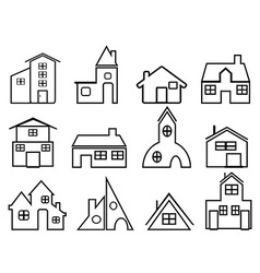 House outline icons vector