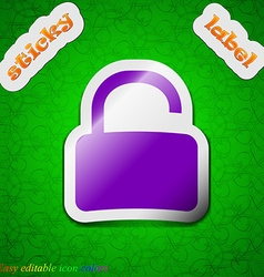 Open padlock icon sign symbol chic colored sticky vector