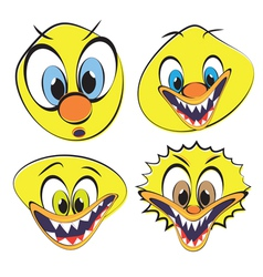 Set of funny and ugly smileys vector