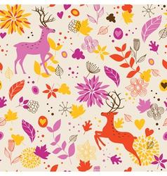 Floral background wih deer vector