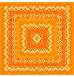Orange knitted shawl pattern vector