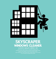 Skyscraper windows cleaner vector