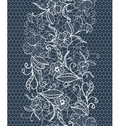 Seamless lace white ribbon on a dark background vector