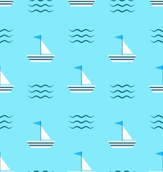 Seamless pattern with sail boats on blue vector