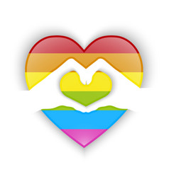 Heart shape design with gay flag color vector