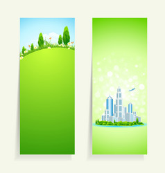 Two vertical banners vector