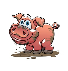 Cute little muddy cartoon pig vector