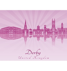 Derby skyline in purple radiant orchid vector