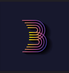 Letter b logo template parallel lines style with vector