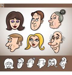 Cartoon people heads set vector