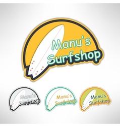 Surfboard label logo or surging shop board t vector