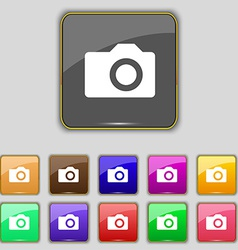 Digital photo camera icon sign set with eleven vector