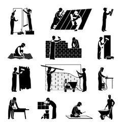 Worker icons black vector