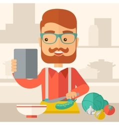 Worker cook with menu vector