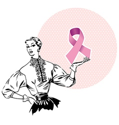 Woman holding breast cancer ribbon vector