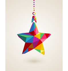 Christmas star multicolors hanging bauble vector