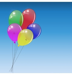 Bunch of colored balloons on sky background vector