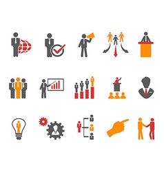 Business and management icons orange series vector