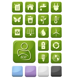 Ecology and environment buttons set vector