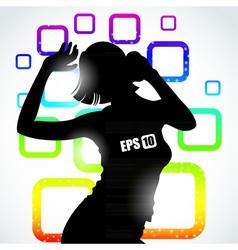 Music girl silhouette vector