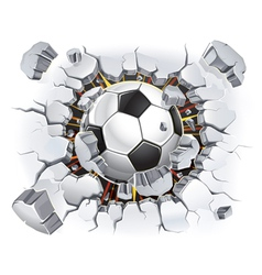 Soccer ball and old plaster wall damage vector