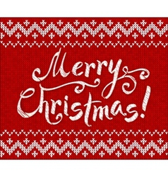 Merry christmas knit on red background vector