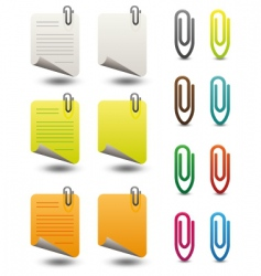 Note papers paperclips icon set vector